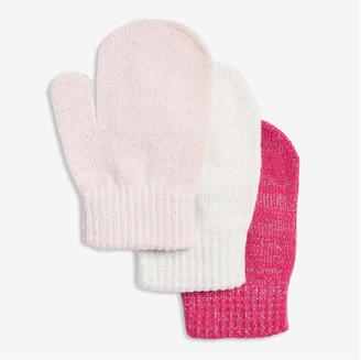 Joe Fresh Toddler Girls' 3 Pack Knit Mitts, Fuchsia (Size O/S)