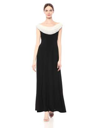 Cachet Women's Beaded Cowl Neck Long Gown