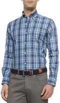 Peter Millar Plaid Long-Sleeve Sport Shirt, Navy