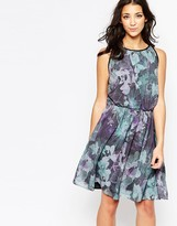 Ichi High Neck Floral Skater Dress