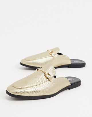 ASOS DESIGN backless mule loafer in gold snake in faux leather