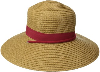 San Diego Hat Company Women's Paper Sun Brim Hat with Fabric Band and Beaded Chin Cord