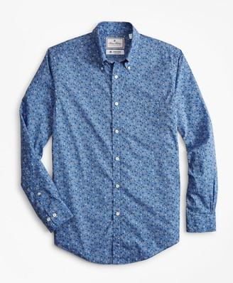 Brooks Brothers Luxury Collection Milano Slim-Fit Sport Shirt, Button-Down Collar Floral Print