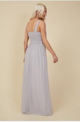 Little Mistress Bridesmaid Sofie Dusty Blue Embellished Maxi Dress