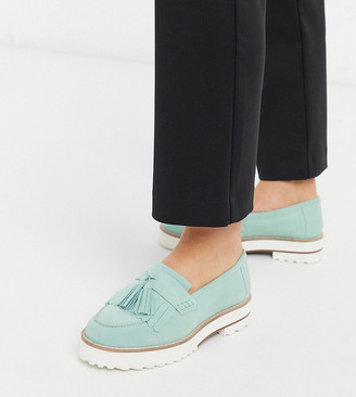 ASOS DESIGN Wide Fit Meze chunky fringed suede loafers in mint