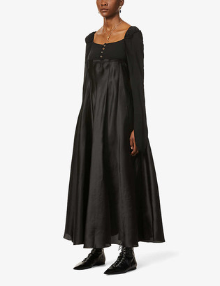 Phaedo Long-sleeved stretch-silk maxi dress