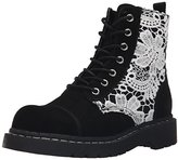 T.U.K. Women's Suede and Crochet Combat Boot
