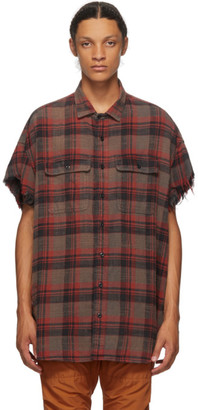 R 13 Red and Black Oversize Cut-Off Shirt