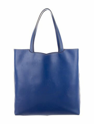 Cartier Leather Shopper Tote blue