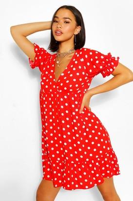 boohoo Chiffon Polka Dot Ruffle Smock Dress
