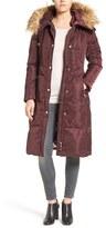 Eliza J Women's Faux Fur Trim Hooded Long Down Coat