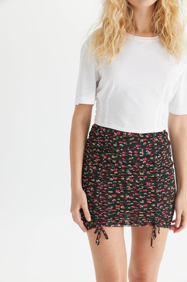 Urban Outfitters Mesh Ruched Mini Skirt