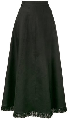 Barbara Casasola frayed A-line maxi skirt