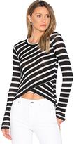 Splendid Stripe Crossfront Top in Black