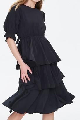 Forever 21 Tiered Flounce-Hem Midi Dress