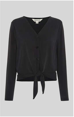 Whistles Cupro Button Tie Front Top