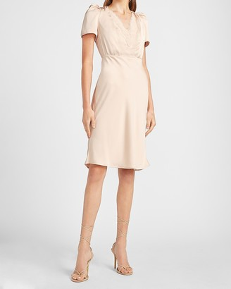 Express Satin Lace Trim Puff Sleeve Dress