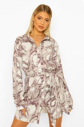 boohoo Tall Marble Print Shirt Dress