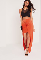 Missguided Knot Front Slinky Maxi Skirt Orange