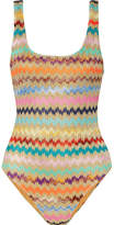 Missoni Mare Metallic Crochet-knit Swimsuit - Orange