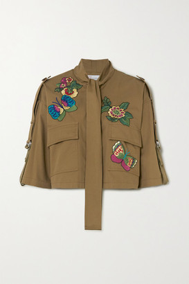 RED Valentino Cropped Pussy-bow Embroidered Cotton-gabardine Jacket - Army green