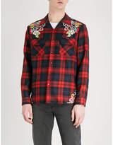 Gucci Dragon-embroidered Checked Regular-fit Wool-flannel Shirt