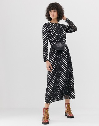 Lost Ink midaxi column dress in mixed print