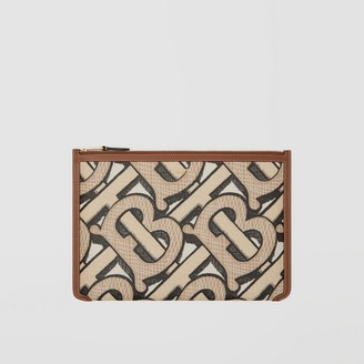 Burberry Monogram Print E-canvas and Leather Pouch