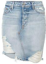 GRLFRND Rhoda Distressed Denim Mini Skirt - Mid denim