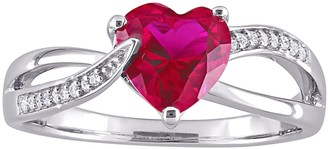 Stella Grace Sterling Silver Lab Created Ruby & Diamond Accent Heart Crossover Ring