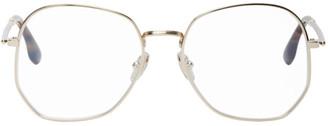 Victoria Beckham Gold Oversized Angular Glasses