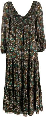 Rixo Lottie Klimt Wave-print tiered dress