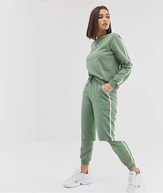 Asos Design DESIGN Larajayne tracksuit sweat / basic jogger with tie with contrast binding-Green