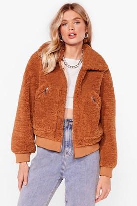 Nasty Gal Womens Zip Through Faux Fur Teddy Bomber - Beige - 8