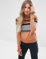 Asos Ruffle Sweater with Placed Stripe
