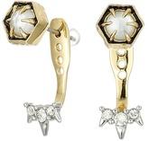 Alexis Bittar Mini Enamel Accented Post w/ Encrusted Spike Ear Jacket Earrings