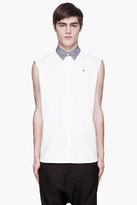 Raf Simons White contrast-collar Logo-embroidered Sleeveless Shirt