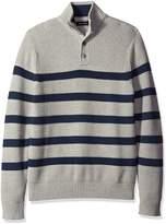 Nautica Men's Buttoned Mock Neck Breton Stripe Pullover