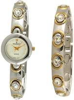Peugeot Women's 665 Two Tone Swarovski Crystal Watch & Bracelet Gift Set