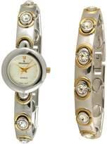 Peugeot Women's 665 Two Tone Swarovski Crystal Watch & Bracelet Gift Set