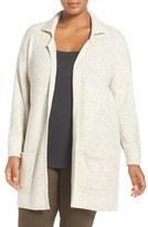 Sejour Plus Size Women's Rib Cotton Blend Sweater Jacket