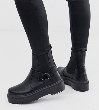 ASOS DESIGN Wide Fit Audio chunky harness chelsea boots in black
