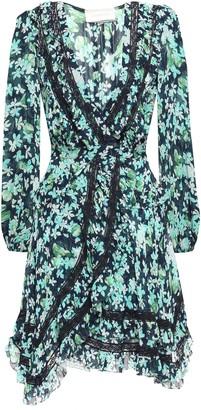 Zimmermann Lace-trimmed Floral-print Mini Georgette Wrap Dress