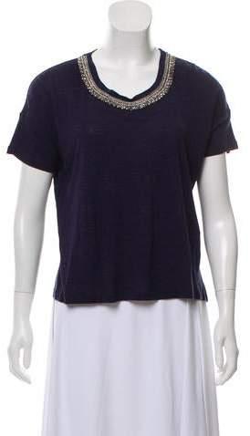 The Kooples Embellished Short Sleeve Top