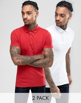 Asos 2 Pack Extreme Muscle Pique Polo Shirt In White/Red SAVE