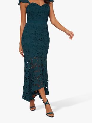 Chi Chi London Lupita Crochet Dress, Teal