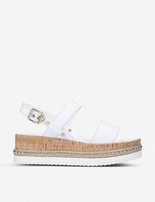 Carvela Krash jute-embellished leather flatform sandals