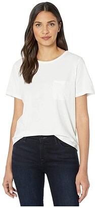 Lilla P Short Sleeve Pocket Tee in Pima Jersey (White) Women's Clothing