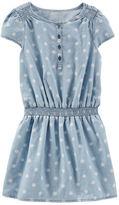Osh Kosh Dotted Chambray Drop-Waist Dress