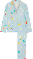 Mira Mikati Printed Silk Crepe De Chine Shirt And Pants Set - Sky blue